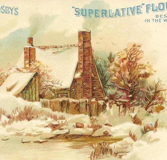 Washburn Crosbys Superlative Flour - Victorian Trade Card Winter Scene - Home under a Blanket of Snow