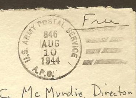 Pair 1944 APO Covers - APO 845 and 846 (Puerto Rico) to Grand Lodge of Masons Boston - Nice WWII collectible Vintage Paper Ephemera
