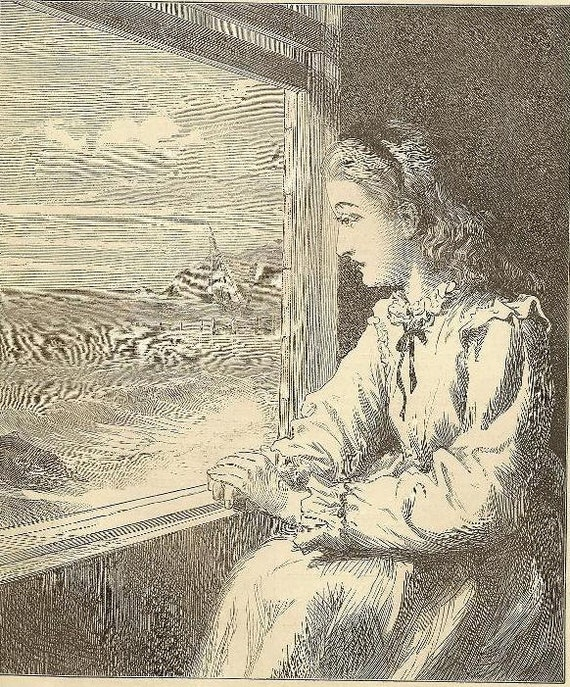 Engraving - ALICE Looking Over The Sea - Original Bookplate from 1881 Chatterbox Young girl dreaming of traveling the world