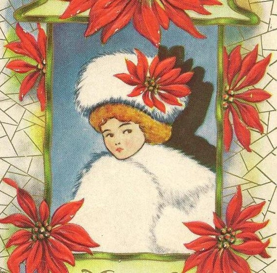 Glamourous Lady in white fur hat and muff surrounded by Red Poinsettias -  unused vintage Christmas postcard