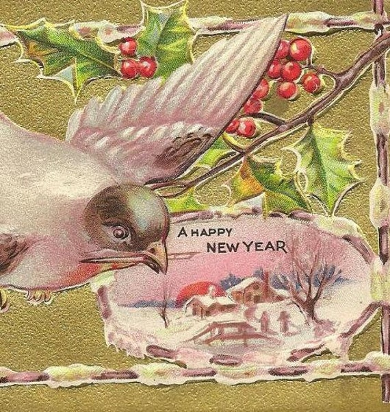 A Happy New Year Vintage Postcard - Lavish gold background bird and snow covered scene 1909