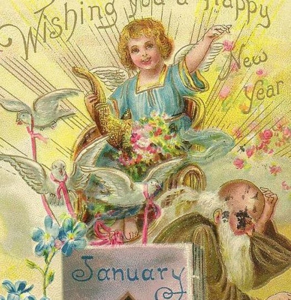 Forget-me-Nots on Vintage New Year's Postcard Tuck - Old Man Time New Years Baby Cornucopia Doves Jan 1 1909 Philadelphia cancel