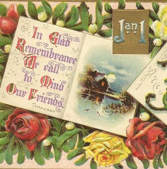 Tennyson Verse on Floral Vintage New Year's Postcard West Portal NY cancel Gottschalk Dreyfuss Publishing