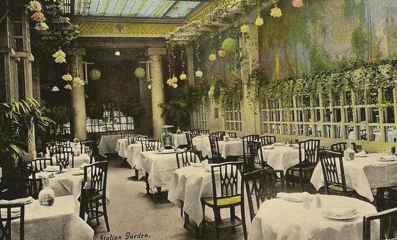 Italian Garden Kaiserhof Hotel CHICAGO Illinois 1911 Vintage Advertising Postcard
