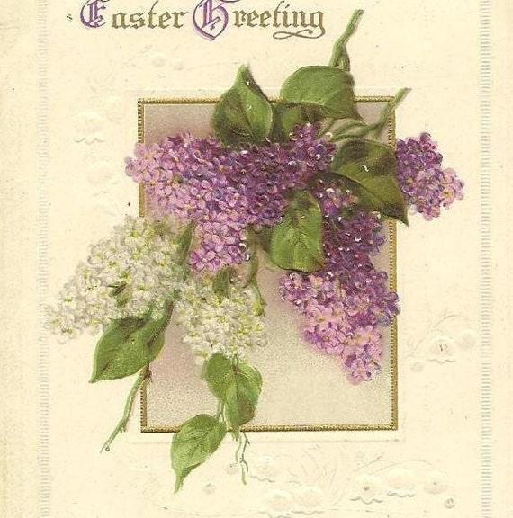 Purple and White Lilacs on Vintage IAPC Easter Postcard - New York 1915 cancel