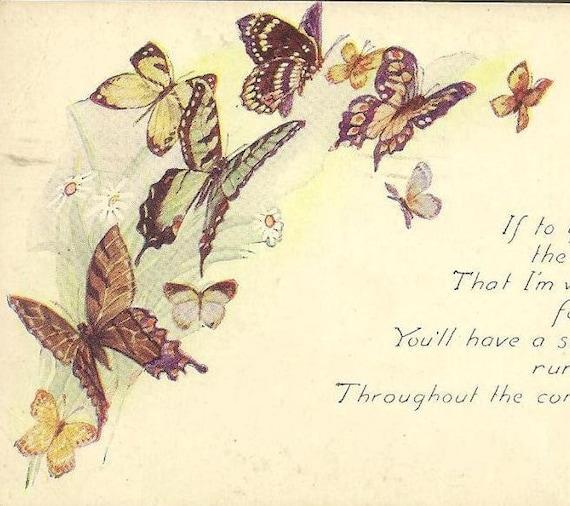 Colorful Butterflies on Vintage Birthday Postcard Susquehanna PA cancel 1920