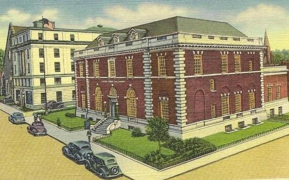 Post Office and Masonic Temple MEADVILLE PA unused vintage linen postcard