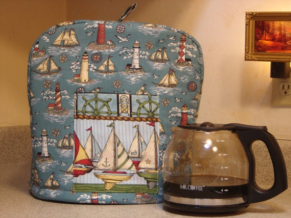 Kitchen appliance cover,  Keurig coffee machine platinum size, Mr. Coffee machine cover, nautical, sailboats with front pocket