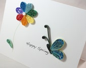 Rainbow daisy - Butterfly - Personal Greeting Card - 013