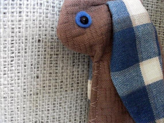 Bunny pencil case brown-blue