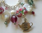 Fuchsia Lampwork Bracelet with Coin Pearls and Swarovski Crystals all Sterling Silver