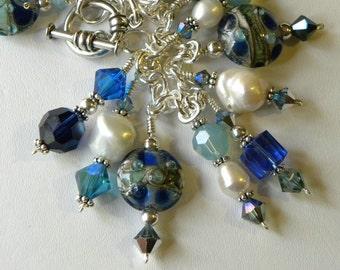 Blue Swarovski Bracelet Bib Necklace Indigo Cobalt Blue Pearl Lampwork Bracelet Charm Bracelet Charm Necklace Blue Bracelet