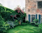 Two Sisters Farmhouse, Southwest France  - watercolor - print - French, blue shutters, garden, brick house