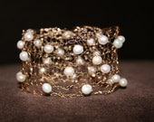 Gold and Pearl Cuff Bracelet Hand Knit from 14K Gold-filled Wire and White Baroque Pearls