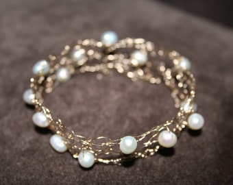 Gold and Pearl Bracelet Hand Knit from 14K Gold Wire and Baroque Pearls