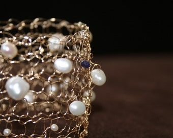 Something Blue: Gold, Pearl & Sapphire Cuff