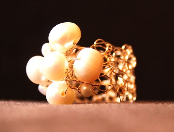 14K Gold and Pearl Statement Ring Crocheted From Fine Gauge Wire