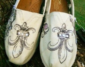 Custom Black and white, hand-designed TOMS shoes, womens french theme