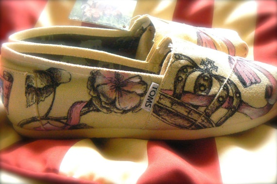 custom hand painted TOMS design, pretty in pink