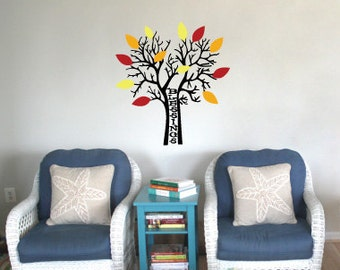 Vinyl Wall Decal -  The Thanksgiving Blessing Tree (MSC7)