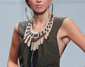Leather Necklace Tero - Ivory, Gold and Blue from Laurel