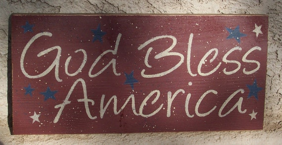 God Bless America Sign - July 4th Decoration - Patriotic
