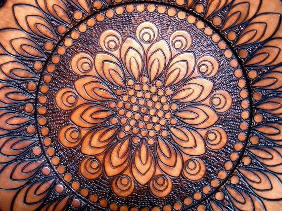 Floral Mandala Burned Design Wooden Plate