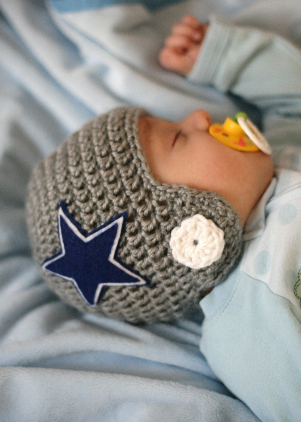 Crochet Pattern Baby Hat Free : Crocheted Football Helmet Baby Beanie You choose TEAM and SIZE