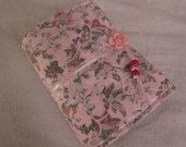 """Shabby Chic Journal Handmade Scrapbook or Diary and Free Bookmark Light Pink Lace 6"""" Width x 8"""" Height - Ready to Ship"""