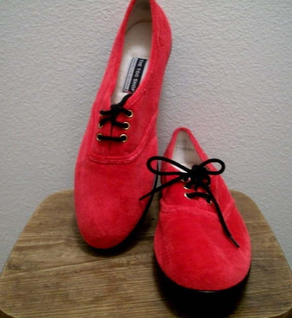 Don't Step on My Red Faux Suede Shoes 10