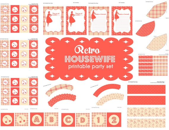Retro Housewife Printable Party Set   79 Items  Invite, Cupcake Toppers, Signs, Recipe Cards, Bottle Wraps... Birthday, Bridal Shower