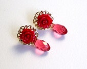 Dark pink resin roses and swarovski  crystal  earring