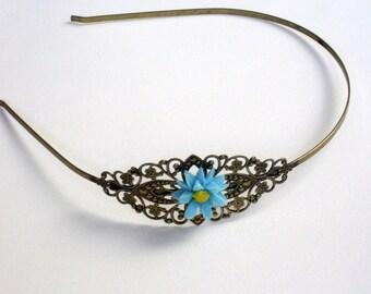 Brass headband with blue sunflower resin cabochon, resin cabochon, blue sunflower, filigree headband, brass, wedding, bridesmaid