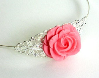 Silver plated headband with pink rose resin cabochon