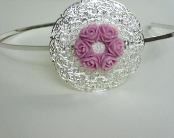 Silver plated headband with lilac rose resin cabochon