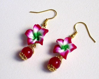 Polymer clay, pink, earrings,jade, natural stone, gold plated, jewelry
