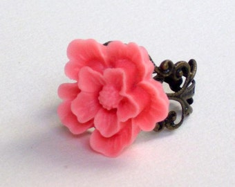Pink cabochon flower ring, antique brass, ring, wedding, bridesmaid, jewelry, filigree ring, vintage style for moms mother's day gifts moms