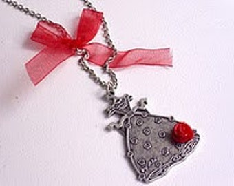 Dress pendant, Antique, oxidized silver plated metal, resin, rose cabochon with red organza ribbon a perfect gift for her, for your mom red