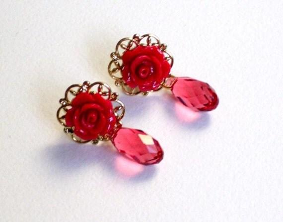 Dark pink resin roses and swarovski  crystal  earring