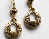 Gold Sufi Heart and Wings Earrings