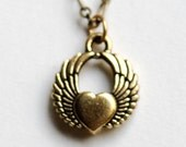 Small Heart and Wings Pendant Necklace