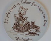 Crownford China Decorative Day of the Week Plate WEDNESDAY