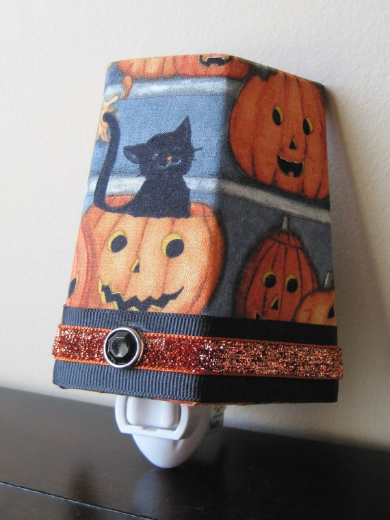 SALE!! Black Cat With Pumpkins - Halloween - Night Light- Only One Available