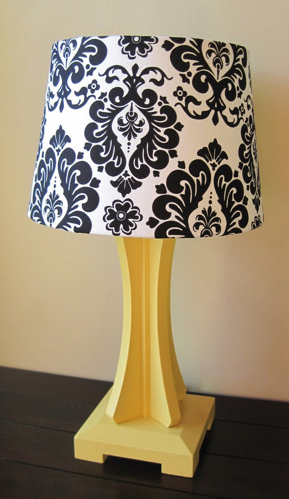 Black And White Damask With Yellow Base Lamp By Starlitshades