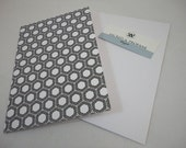 Retro Greeting Cards Patterned Folded in Black and White - Set of Five