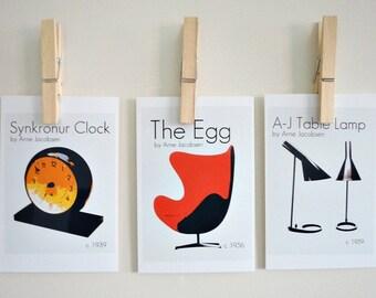 Retro Art Prints An Ode to Arne Jacobsen, Set of Three Danish Design Classics, Retro Mod Home Decor, Scandinavian Design, Danish Design