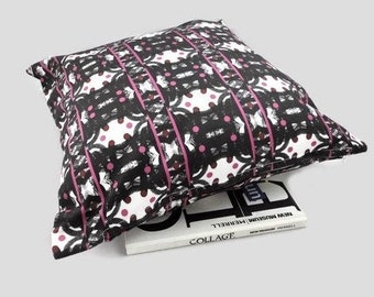 Throw Decorative Pillow Cover, Cotton Cushion Cover, Black, White and Hot Pink Home Accessory, Porch Decor, Gift for Her, Optical Illusion
