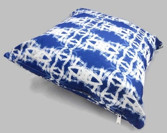 Blue Throw Pillow Cover, Blue and White Cushion Cover, Pillow Case, Gift for Hostess, Optical Illusion Case, Home Decor, Patio Decor,