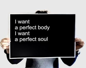 Perfect Body, Perfect Soul Poster, Minimal Typography Print, New Years Print, Motivational Poster, Inspirational Poster 11.25 x 17.3