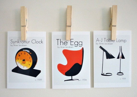 Art Prints An Ode to Arne Jacobsen - Set of Three Danish Design Classics Retro Mod Home Decor